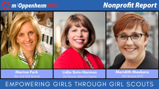 Poster with Meridith Maskara, CEO of Girl Scouts New York City, Lidia Soto-Harmon, CEO of Girl Scouts Nation's Capital (DC) and Marina Park, CEO of Girl Scouts of Northern California