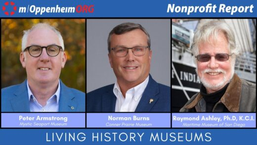 Peter Armstrong, President & CEO of Mystic Seaport Museum, Norman Burns, President & CEO of Conner Prairie Museum, and Raymond Ashley, Ph.D., K.C.I., President & CEO of Maritime Museum of San Diego
