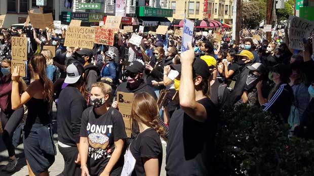 Crowds Protesting in the Streets of San Francisco