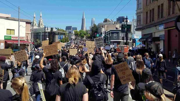 People Protest in the Streets of San Francisco
